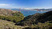 stock photo of alcatraz  - San Francisco With Golden Gate bridge and Alcatraz - JPG