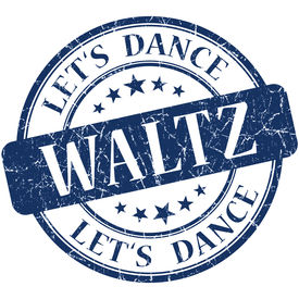 picture of waltzing  - Waltz blue vintage grungy isolated round stamp - JPG
