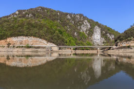 image of decebal  - rock sculpture of Dacian king Decebal on Danube river - JPG