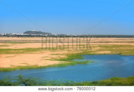 Krishna river in India near Vijayawada city
