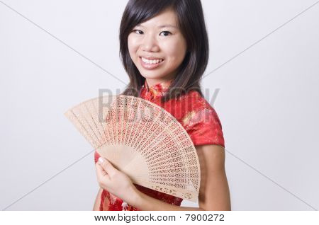 Chinese New Year Girl With Fan