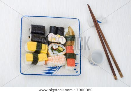 Various Sushi Set On A Plate