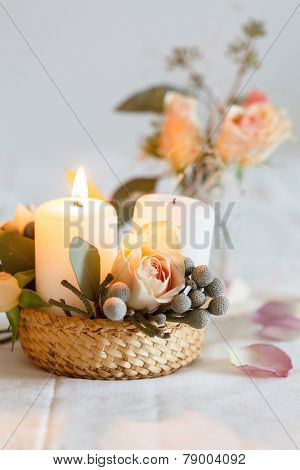 nice flowers and candle