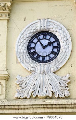 Beautiful Decorative Clock On Asia City  House Wall