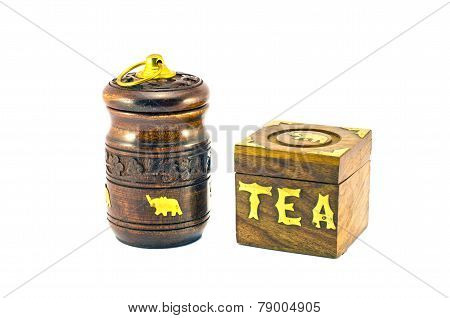 Beautiful Indian Tea Wooden Box Souvenir Isolated On White