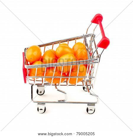 Side View Of Orange Grape Tomatoes In Shopping Cart