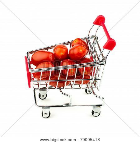 Red Grape Tomatoes In Trolley Isolated On White