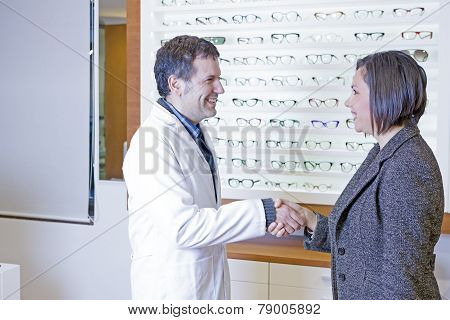 Optician Is Welcoming To A Customer