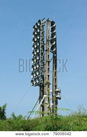 Loudspeakers on the side of Ben Hai river, Quang Tri, Vietnam