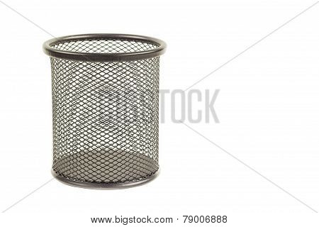 Pen And Pencils Container Isolated On White Background