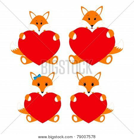 Family foxes with hearts on a white background