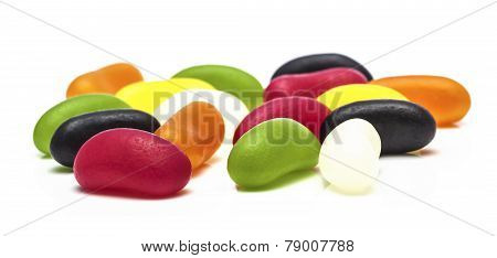 Colorful Jelly Beans On A White Background
