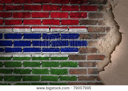 Dark Brick Wall With Plaster - Gambia