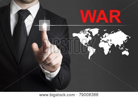 Businessman Pushing Button War International
