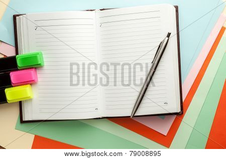 Open Note Book With Lined Pages.