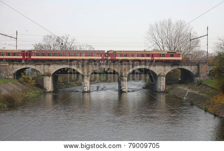 The Passenger Train On Viaduct