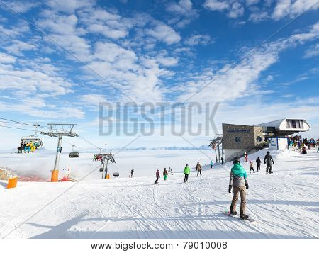 People Relax In The Ski Resort