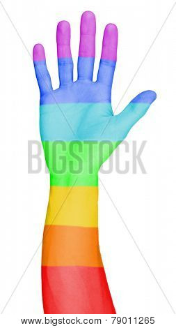 Man's hand painted as the rainbow flag isolated on white