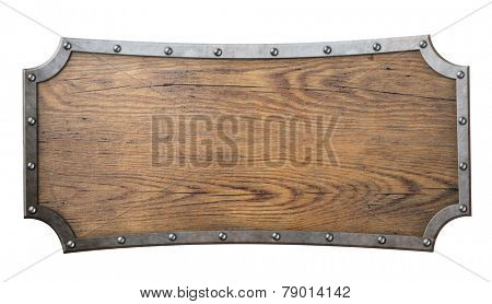 wood sign with metal frame on chain isolated on white