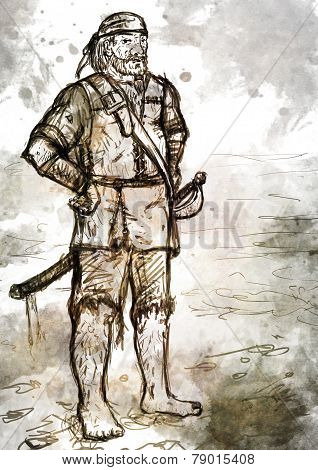 Drawing Of Old Armed Pirate With Sword