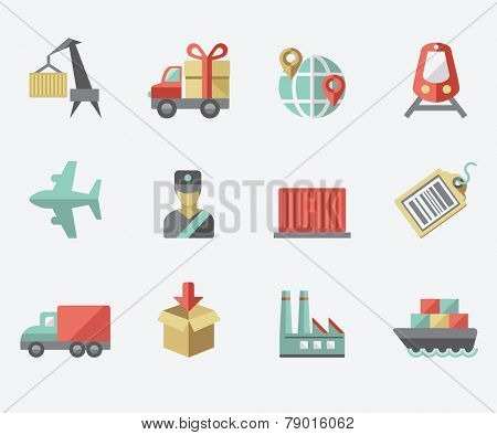 Logistic icons, flat design
