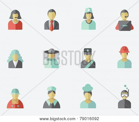 Professionals, people icons, flat design