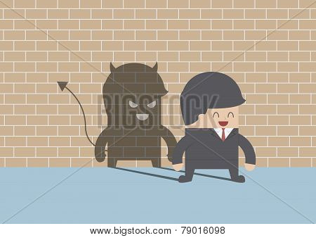 Devil Shadow Behind Smiling Businessman
