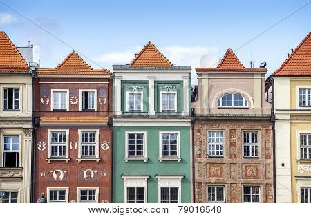 Historic Poznan City Buildings Located On A Main Square