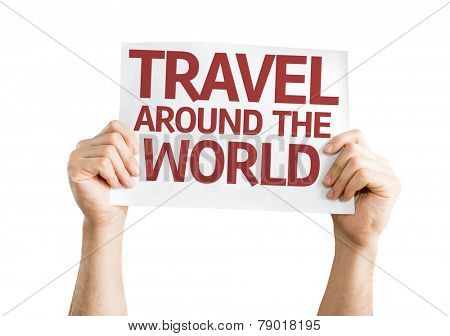 Travel Around the World card isolated on white background
