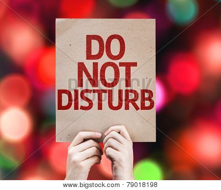 Do Not Disturb card with colorful background with defocused lights