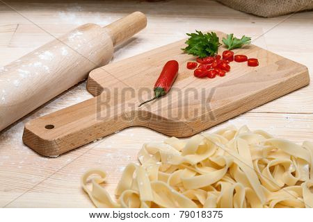 Fettuccini  Italian Pasta With Parsley And Hot Peppers