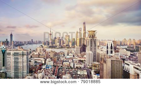 modern city skyline,traffic and cityscape in Shanghai,China