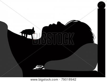 Editable vector silhouette of a vampire bat drinking blood from the neck of a sleeping woman with figures as separate objects
