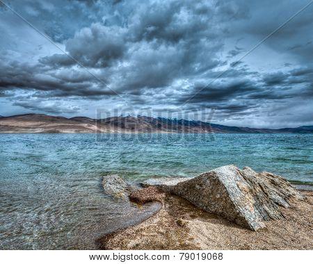 High dynamic range (hdr) image of Himalayan mountain lake in Himalayas Tso Moriri (official name: Tsomoriri Wetland Conservation Reserve), Korzok,  Changthang area, Ladakh, Jammu and Kashmir, India