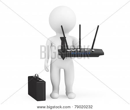 3D Businessman With Wifi Router