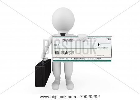 3D Businessman Hold Banking Check