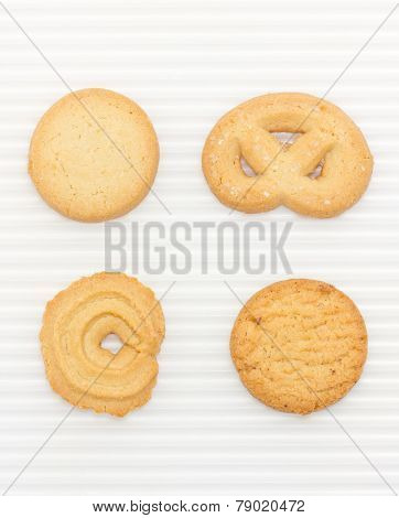 Butter Cookies Set Isolated On White.