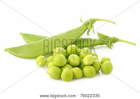 Fresh Sugar Snap Peas On White Background