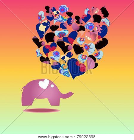 Template Greeting Card With Elephant