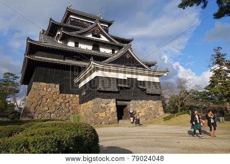 Tourists Visit Matsue Samurai Feudal Castle In Shimane Prefecture