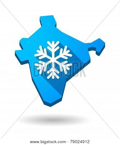 India Map Icon With A Snow Flake
