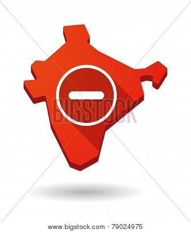 India Map Icon With A Subtraction Sign