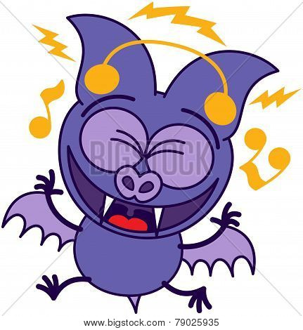 Purple bat listening to music