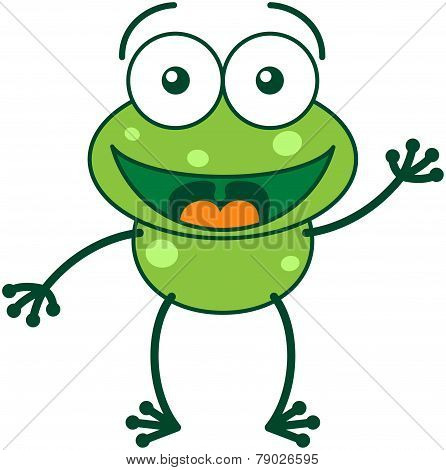 Green frog waving and greeting