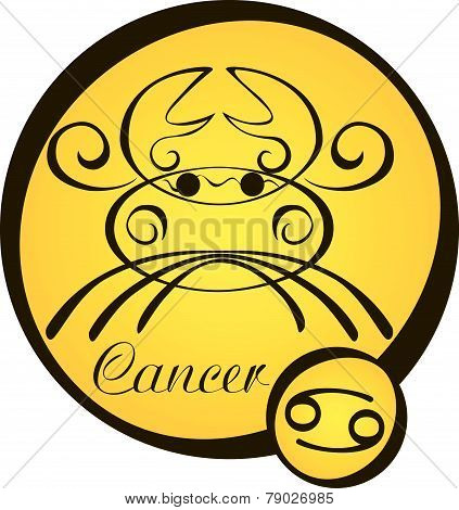 Stylized Zodiac Signs In A Yellow Circle - Cancer.eps
