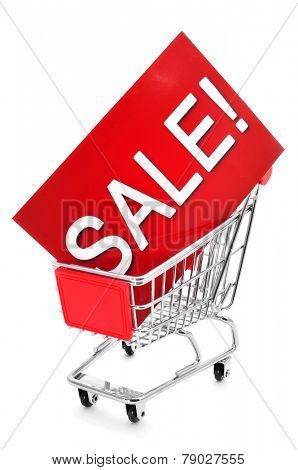 a red signboard with the word sale written in it in a shopping cart, on a white background