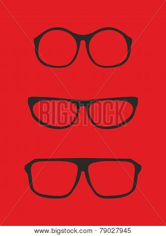 Red nerd glasses for professor or secretary with thick holder - retro hipster vector illustration
