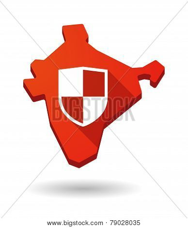 India Map Icon With A Rss Sign