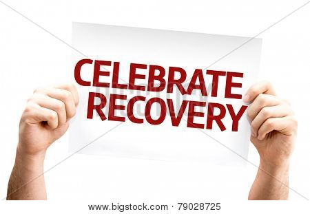 Celebrate Recovery card isolated on white background