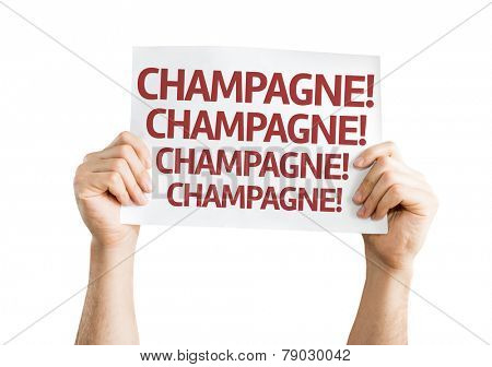 Champagne! Champagne! Champagne! card isolated on white background